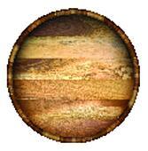 Round wooden barrel.