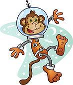 Monkey Astronaut Cartoon Character