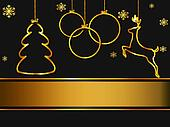 Christmas greeting card, elegant, black and gold