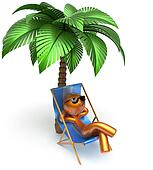 Man relaxing character chilling beach deck chair palm tree