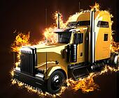 lorry truck in fire