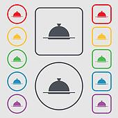Food platter serving sign icon. Table setting in restaurant symbol. Symbols on the Round and square buttons with frame.