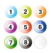 set of glossy billiard balls isolated over white background