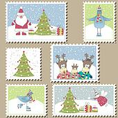 Large Set of Christmas Postage
