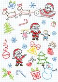 Vector sketchs - Santa Claus and children