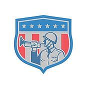 Metallic Soldier Blowing Bugle Crest Stars Retro