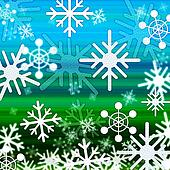 Landscape Snowflakes Background Shows Winter December And Cold