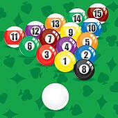 Billiard soccer and pool balls on green background, vector illustration