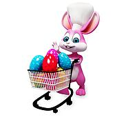 Bunny with eggs trolley