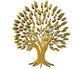 Gold tree wealth symbol 3D logo