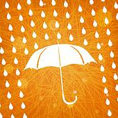 white umbrella and rain drops on abstract modern triangular orange background