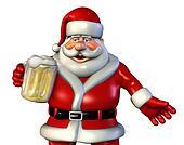 Santa Drinking Beer