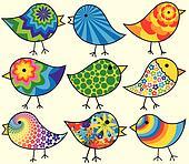 Nine Colorful Birds