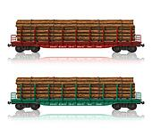 Railroad flatcars with lumber