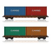 Railroad flatcars with containers