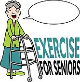 Exercising Senior Lady with Walker