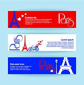 Collection of banners and ribbons with Paris landmarks