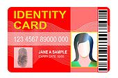 generic id card with thumbprint