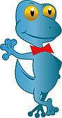 blue gecko standing top hat