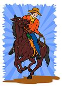 cowboy riding horse lasso