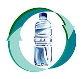 water bottle recycle arrows front