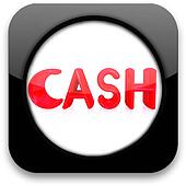 Glossy icon with text ' cash'