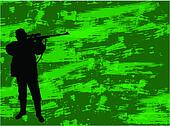 hunter on the camouflage background