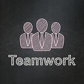 Business concept: Business People and Teamwork on chalkboard background