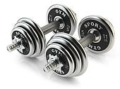 Group of steel dumbbells isolated on white background. 3D