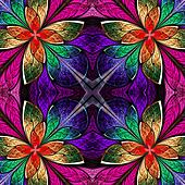 Symmetrical multicolored pattern in stained-glass window style.