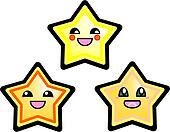 Kawaii vector stars on white