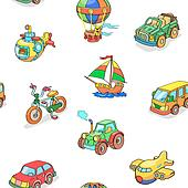 Cartoon collection of Transportation seamless pattern