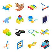 Toys isometric 3d icons set