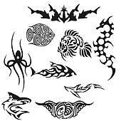 Creative black fish tattoo