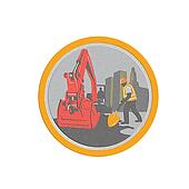 Metallic Mechanical Digger Construction Worker Circle