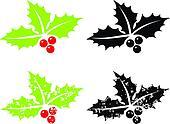 Holly berry grunge - Christmas symb