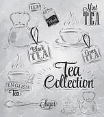 Set of tea collection. Coal. Raster