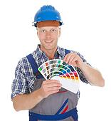 Handyman Showing Color Swatches