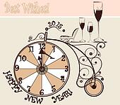 New year card with clocks and bicycle in vintage style