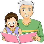Grandpa Reading to Girl