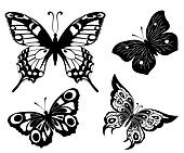 Black a white set of butterflies of