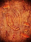 prehistoric cave paint  with hunters animals and mobile phone