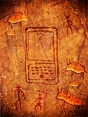 prehistoric cave paint with hunters and handheld computer