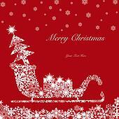 Christmas Santa Sleigh with Tree and Presents 2