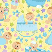 Seamless background with babies (EPS10)