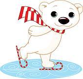 Polar bear on ice skates