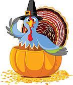 Thanksgiving Turkey in the  pumpki