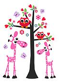 owl love valentine birthday giraffe