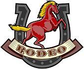 prancing horse with horseshoe