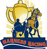 Harness cart horse racing cup